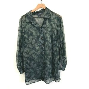 Lane Bryant Feather Print Dress Shirt 14/16